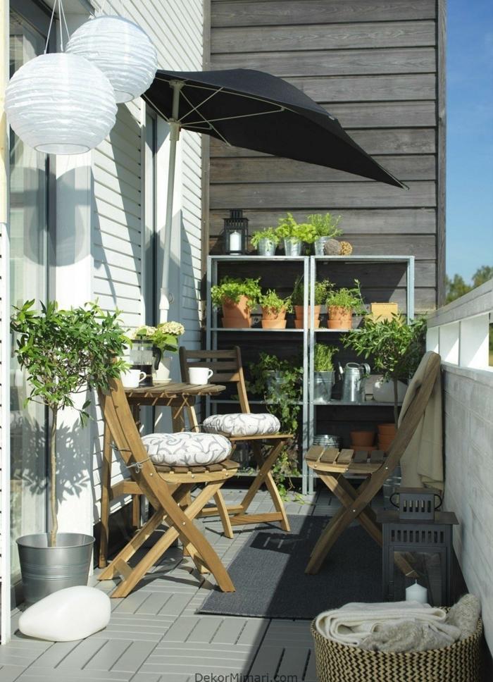 como decorar la casa con plantas verdes, pequeños detalles para decorar el balcon, decoracion terrazas aticos en fotos