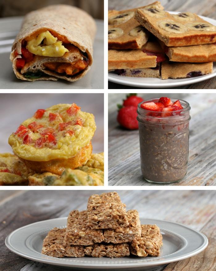 geniales ideas de desayunos saludables para bajar de peso magdalenas esponjosas con trozos de tomates, bloques de avena