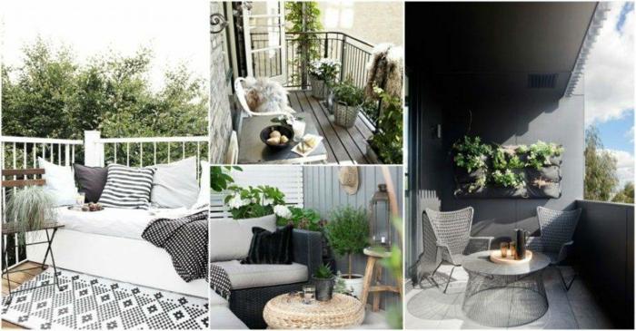 geniales ideas de decoracion terrazas aticos, terrazas pequeñas decoradas en blanco y negro, fotos de balcones encantadores