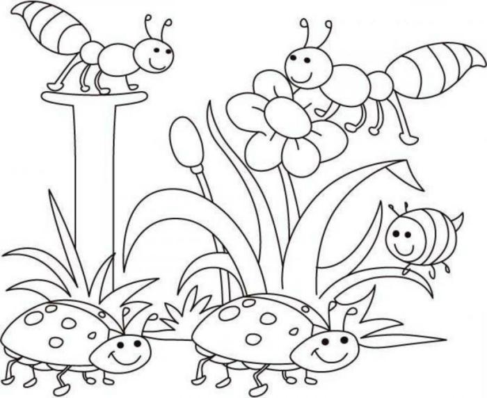 paisajes de naturaleza para niños para colorear, dibujos para colorear de disney, mariquitas y flores para pintar