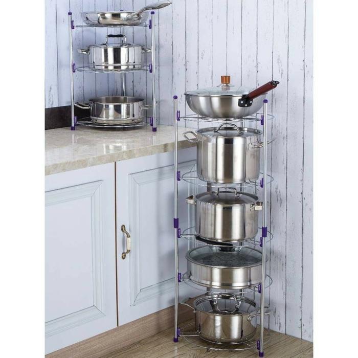 ideas para almacenar las ollas y las sartenes en la cocina, cocinas modernas en estilo vintage, ideas para ordenar la cocina