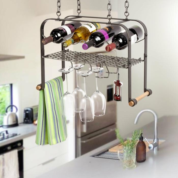 como almacenar botellas y copas de vino, como decorar cocinas modernas y funcionales, organizador cocina originales