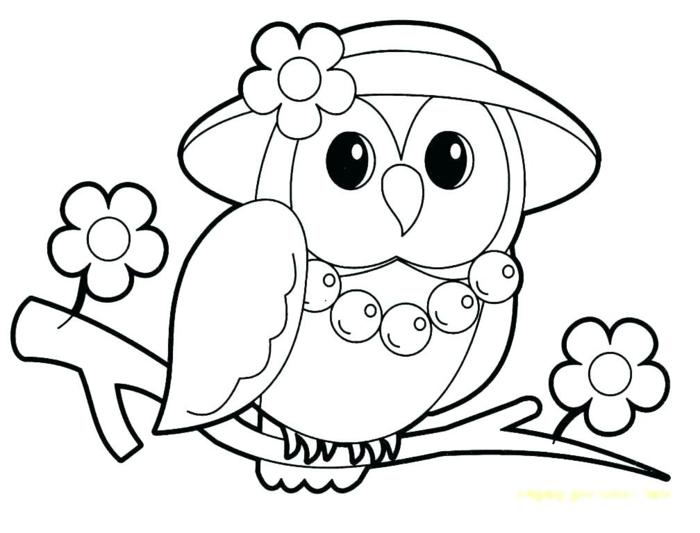 buho con flores, simpaticos dibujos para calcar y colorear, fotos de dibujos faciles de hacer para niños que puedes imprimir