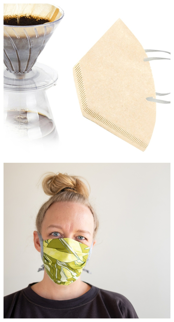 DIY coronavirus face masks made from coffee filters, filter DIY face mask ideas for added protection