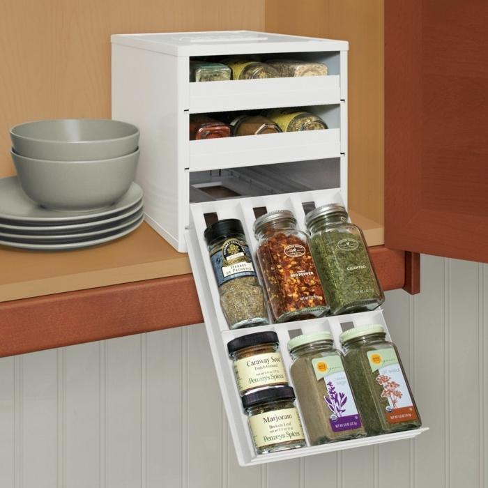 las mejores ideas de organizadores de cocina, caja de madera para guardar las especias, fotos de cocinas organizadas