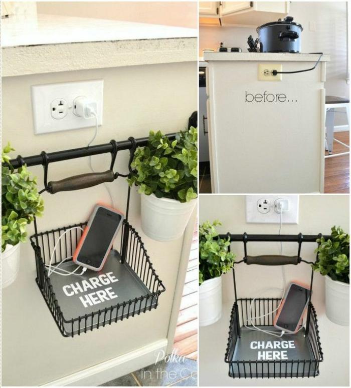 trucos faciles para la cocina, cesta para guardar el movil mientras se esta cargando, organizador cajones cocina en fotos