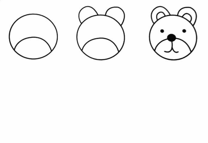 como dibujar la cabeza de un oso paso a paso, animales para colorear chulos paso a paso, cosas para redibujar en casa