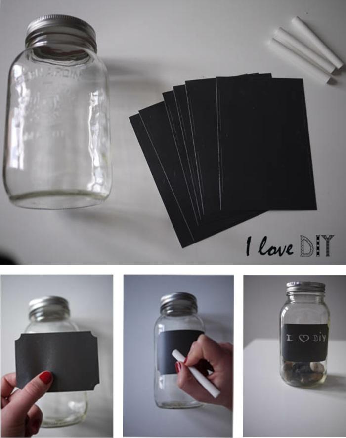 etiquetas para frascos hechos con papel negro y tiza, fantasticas ideas sobre como organizar mejor la cocina, tutoriales en fotos