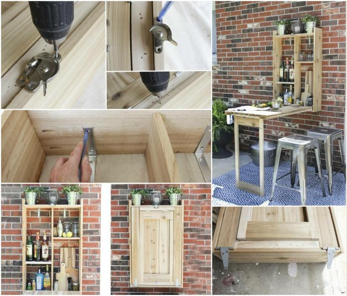 como hacer un aramrio mesa, ideas de muebles de bricolaje para una cocina en estilo rustico, tutoriales paso a paso en fotos