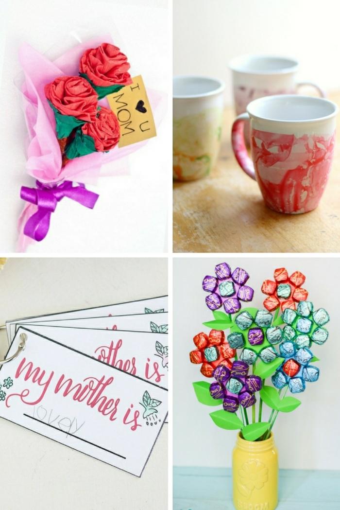 cuatro ideas de regalos caseros para tu madre, flroes de materiales reciclados y rosas de papel, manualidades para el dia de la madre faciles