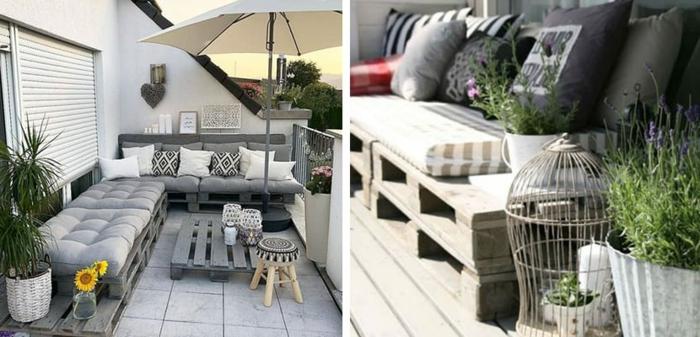 ejemplos de terrazas modernas decoradas con muebles de palets, decoracion con palets, muebles de palets originales