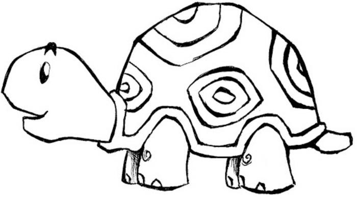 dibujo tortuga que puedes imprimir y calcar o colorear, dibujos para colorear de animales, ventagas de las paginas de colorear