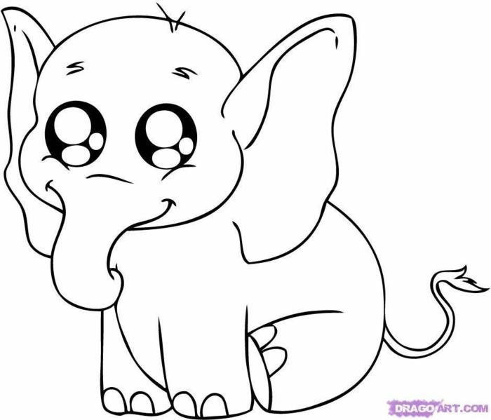 elefante simpatico para descargar y colorear, dibujos para colorear de animales, fotos de dibujos para colorear bonitos