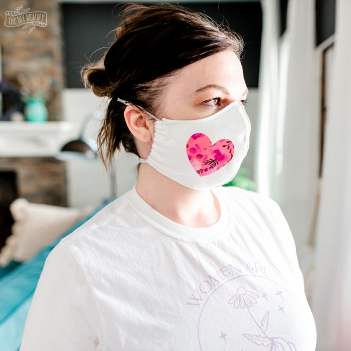 pretty mask with pink heart, photos of antivirus masks and tips on how to better protect yourself when you are away