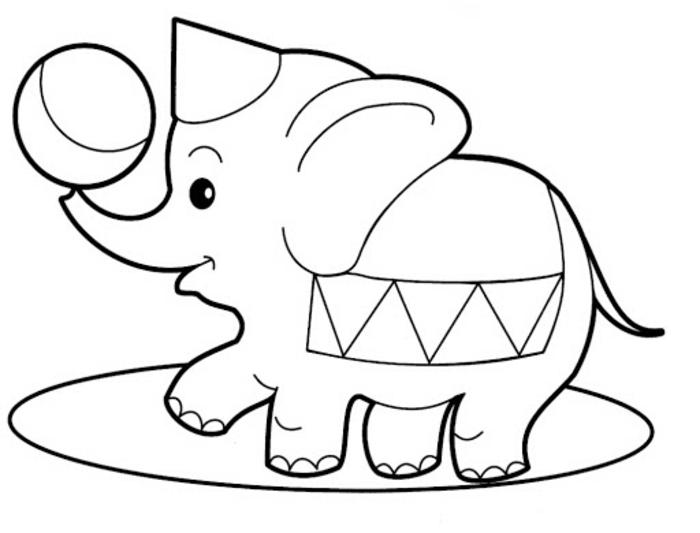 dibujo de elefante divertido, dibujos para colorear de animales, cosas para redibujar en casa, ideas de dibujos para calcar