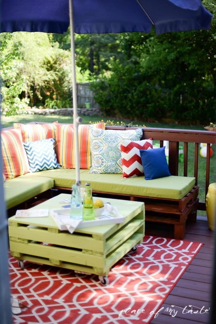 como decorar la terraza entera con palets, decoracion con palets jardin y terraza, fotos de muebles de terrazas DIY con reciclaje