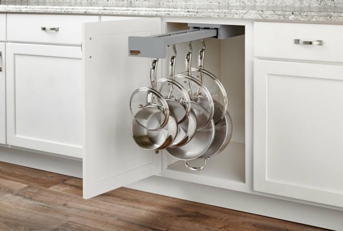 geniales ideas sobre como almacenar las ollas y las sartenes en la cocina, organizador cajones cocina y otras ingeniosas ideas