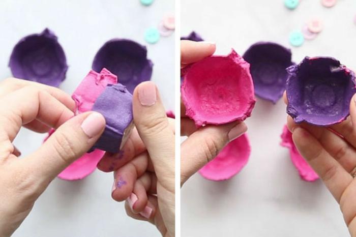 manualidades dia de la madre infantil originales, ideas con reciclaje, como hacer un ramo de flores de hueveras pintadas