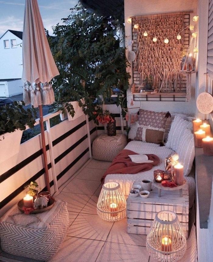 pequeños espacios decorados con mucho estilo, ideas terraza originales, colores para una terraza chill out, fotos bonitas de terrazas