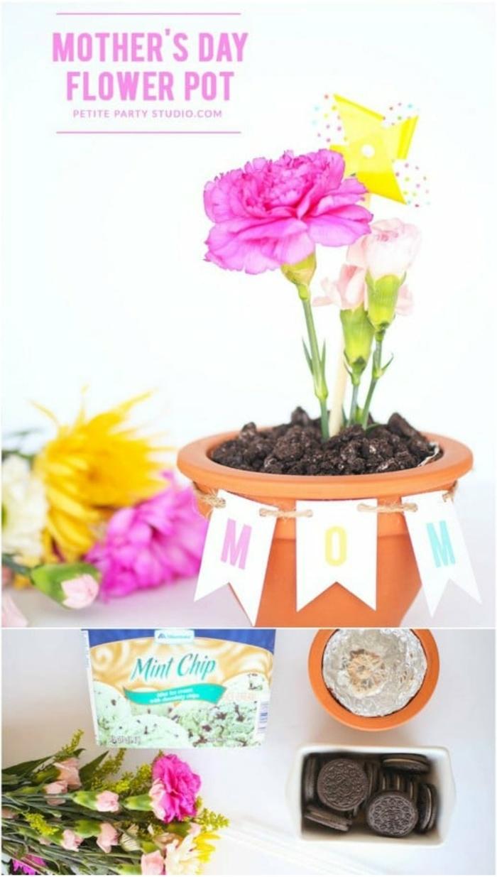 geniales ideas de manualidades para el dia de la madre faciles, maceta con flores decorada de guirnalda de papel
