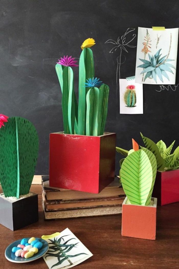 regalos para el dia de la madre caseros, ideas de regalos caseros faciles de hacer, cactus de papel bonitos para decorar el salon