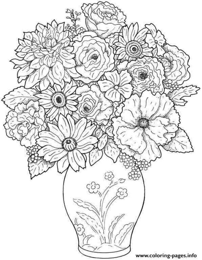 jarron con flores bonito, dibujos para colorear e imprimir originales, como diubjar un jarron con flores ideas de diubjos