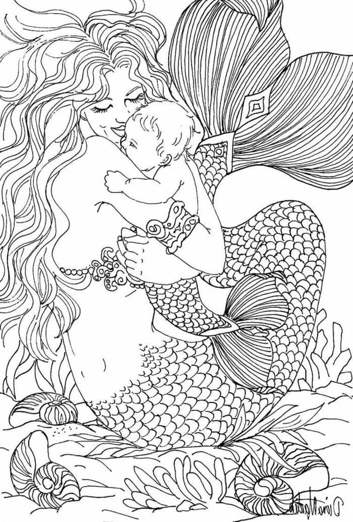 madre sirena con su bebe, ideas de dibujos para colorear para adultos, fotos de dibujos originales y bontios en casa