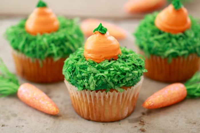 postres faciles y rapidos de hacer en casa, magdalenas decoradas como zanahorias, las mejores ideas de recetas caseras ricas