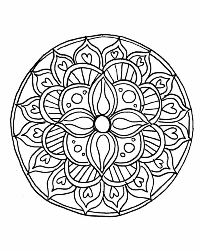 dibujos de mandala originales, ideas de diubjos para colorear para adultos, dibujos para colorear e imprimir en casa