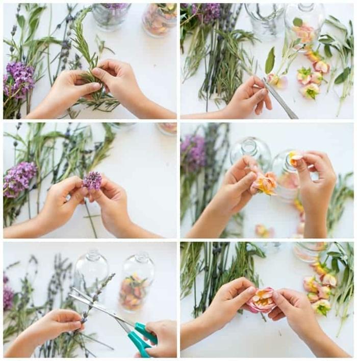 pasos para hacer bonitas botellas de flores secas, manualidades para el dia de la madre faciles, regalos para decorar la casa