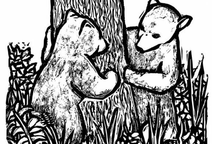 dos osos en un bonitos paisaje en el bosque, ideas de dibujos para colorear e imprimir, fotos de dibujos originales