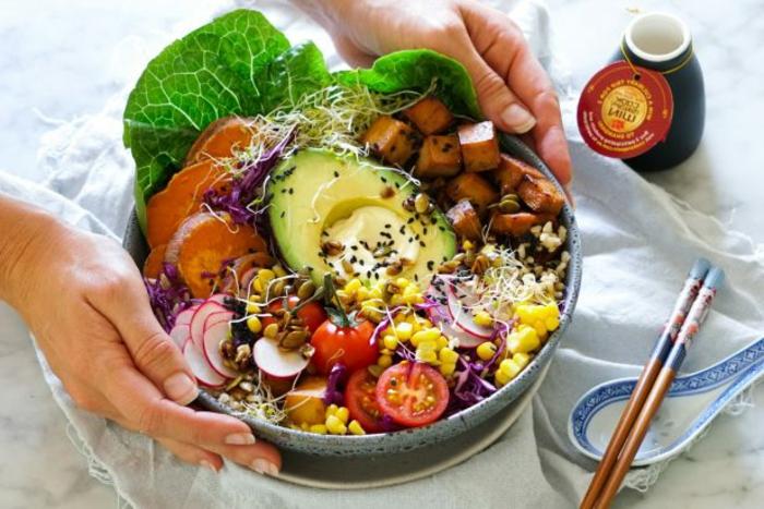 bol saludable con batatas, lechuga, aguacate, maiz, tomates uva y condimentos, ensaladas saludables con ingredientes bajos en calorias