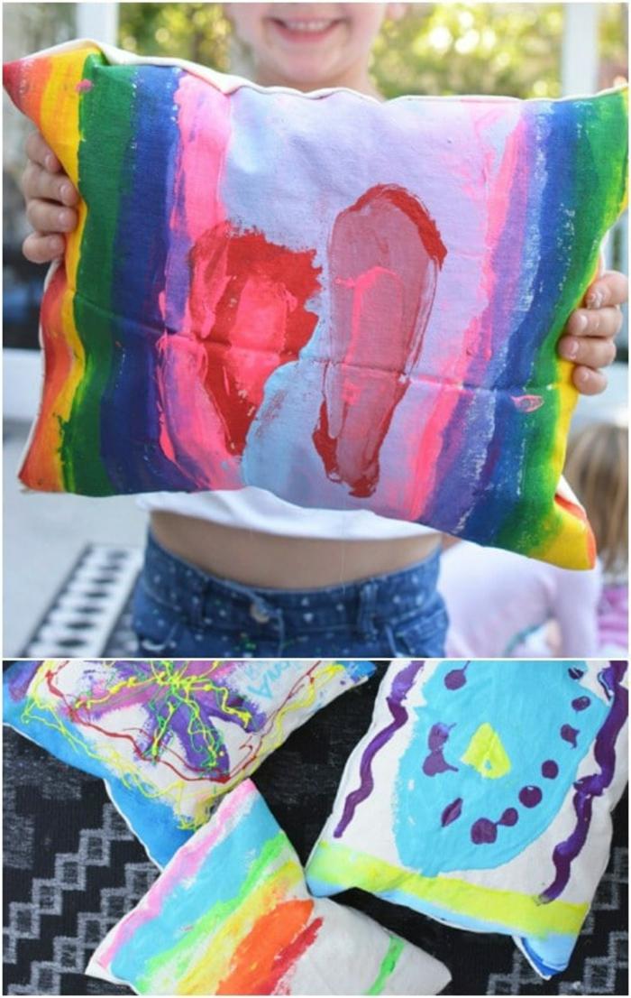 almohadad dibujada en los colores del arco iris, fotos sobre qye regalar a tu madre, detalles hechos a mano bonitos
