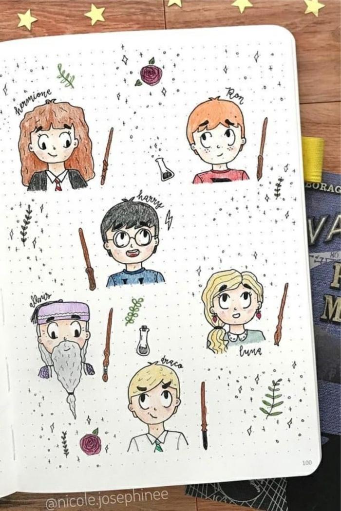 geniales ideas de dibujos artisticos del universo de Harry potter, dibujos tumblr simpaticos, fotos de dibujos simbolicos