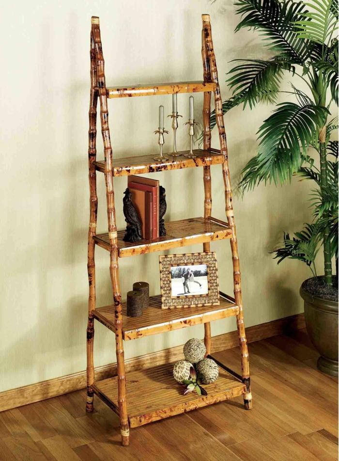 escalera de bambú para usar como estantería, decoracion con bambu original y bonita, ideas para decorar la casa con bambú