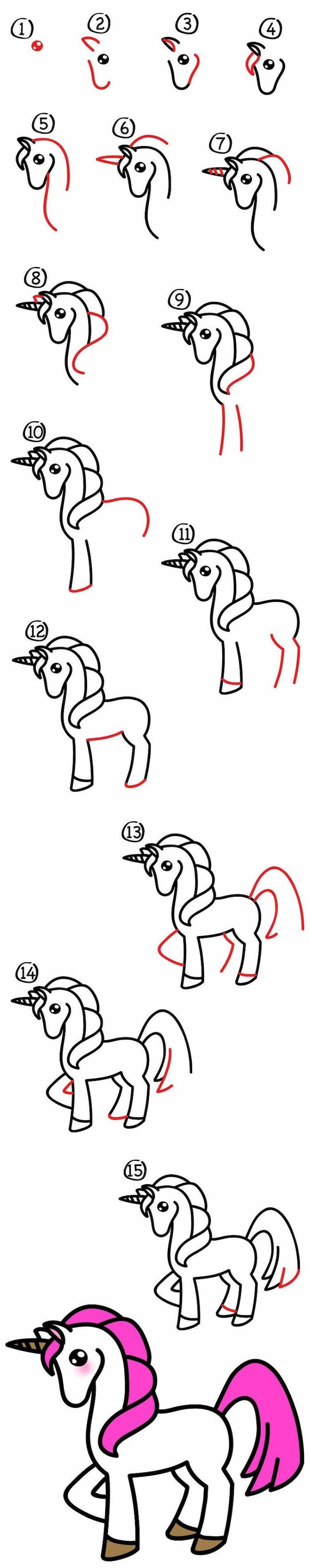 como dibujar un unicornio kawaii facil, fotos de dibujos originales y faciles de hacer, detalles para redibujar en casa
