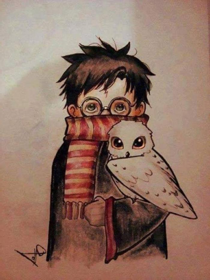 el pequeño Harry Potter en la compañia de Hedwig, fotos de dibujos inspiradores de Harry Potter, ideas de dibujos chulos