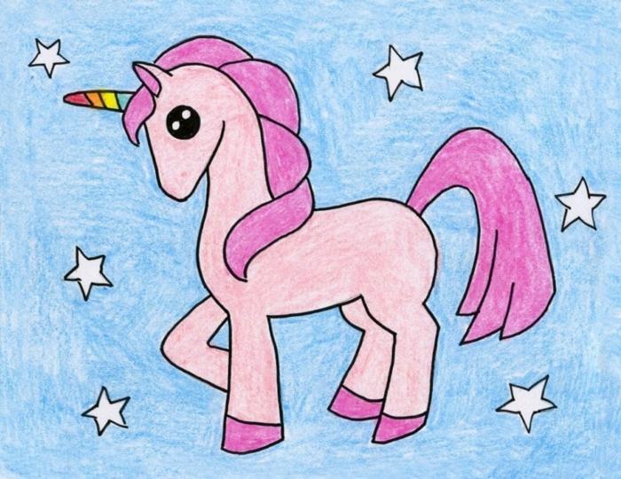 ideas de dibujos orignales y faciles de hacer, dibujos de unicornios en colores, dibujar a lapiz paso a paso en colores pastel