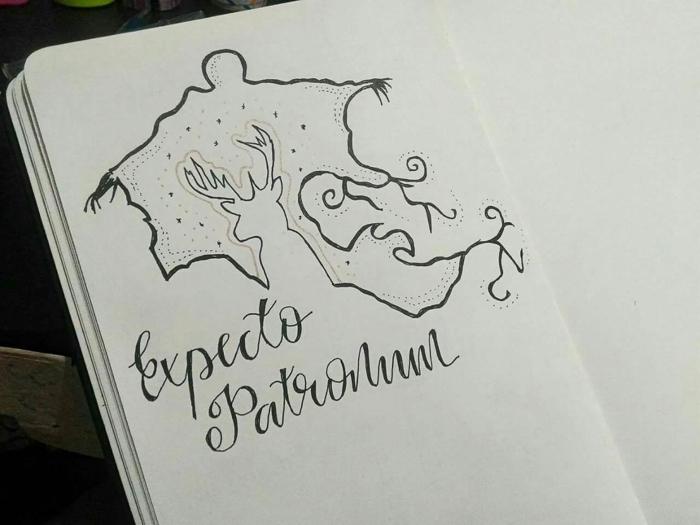 dibujo expecto patronum ciervo, harry potter para dibujar e ideas de diubjos del universo del joven hechicero, ideas de dibujos
