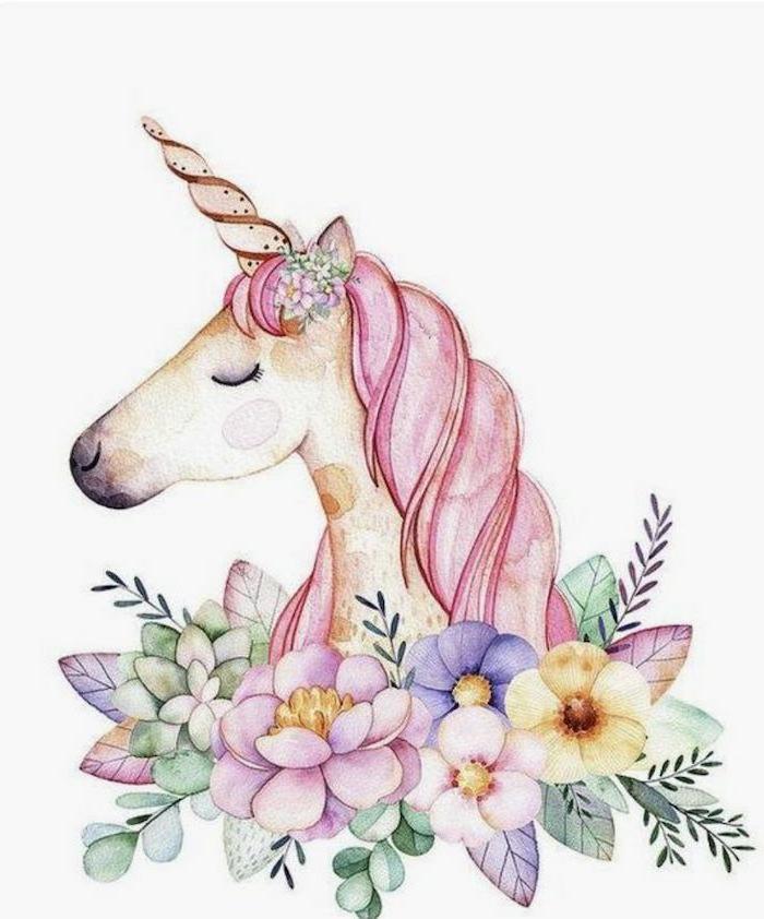 adorables ideas sobre como dibujar un unicornio, como dibujar un unicornio kawaii facil en fotos, motivos florales en colores pastel