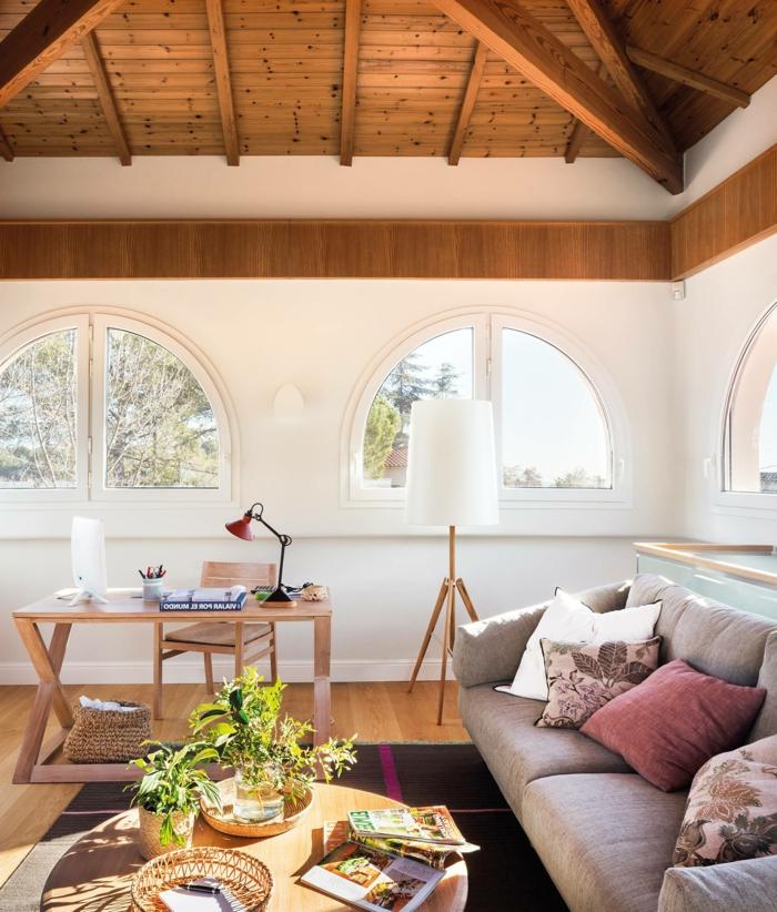 ideas para amueblar tu despacho en casa, salon grande con interesantes elementos arquitectonicos, ideas para amueblar la casa