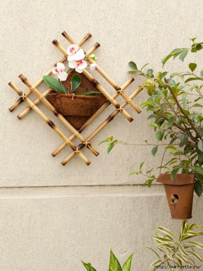 detalles decrativos para el jardin, como hacer decoracion con bambu paso a paso, detalles para decorar la pared en tu jardin