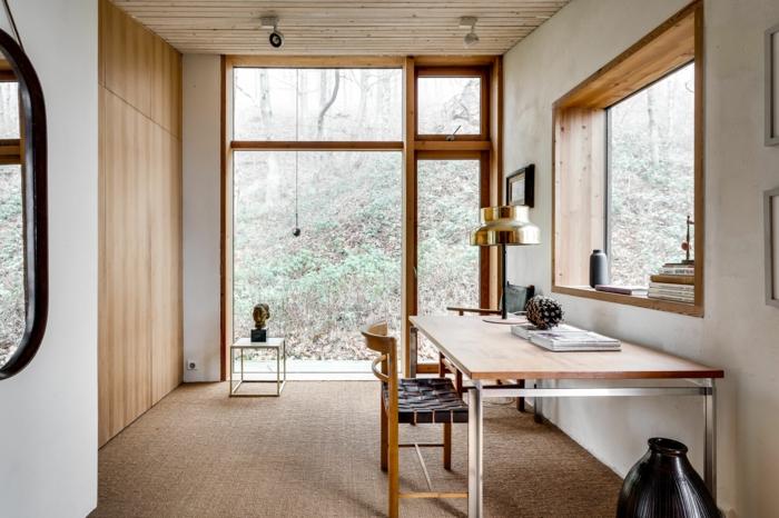 grande oficina en casa decorada en estilo minimalista, fotos de oficinas decoradas con mucho encanto, ideas de decoracion despacho