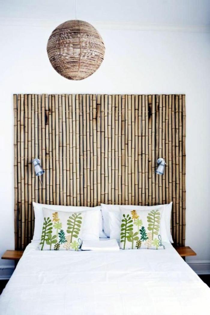 cabecero DIY hecho de palos de bambú, cañas bambu decoracion bonita para el hogar, fotos de habitaciones decoradas con bambu