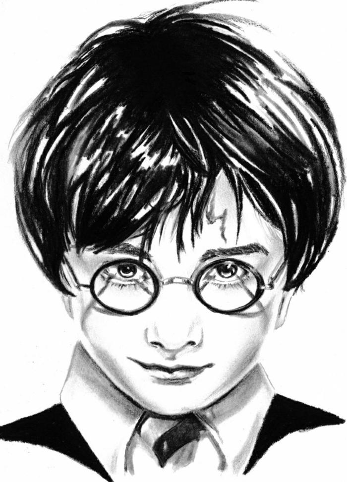 dibujo en blanco y negro del pequeño harry potter, ideas de dibujos chulos y faciles de hacer, dibujos de harry potter