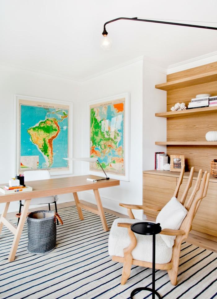 como amueblar un despacho en casa, fotos de rincones de la casa decorados con mucho encanto, alfombra en rayas blaco y negro