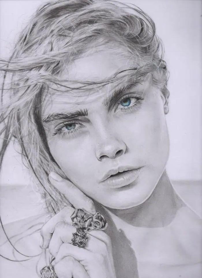 retratos de actrices famosas, dibujos en blanco y negro, dibujos faciles de hacer, ideas de dibujos inspiradores y bonitos