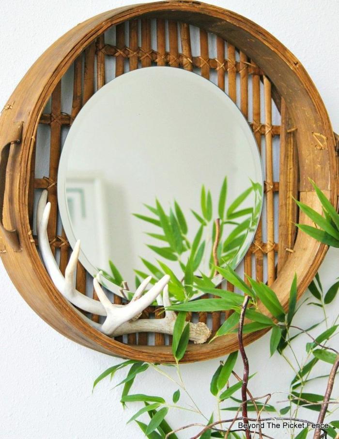 espejo de bambu bonito y moderno, detalles decorativos para decorar un espacio zen, fotos de decoraciones bontias