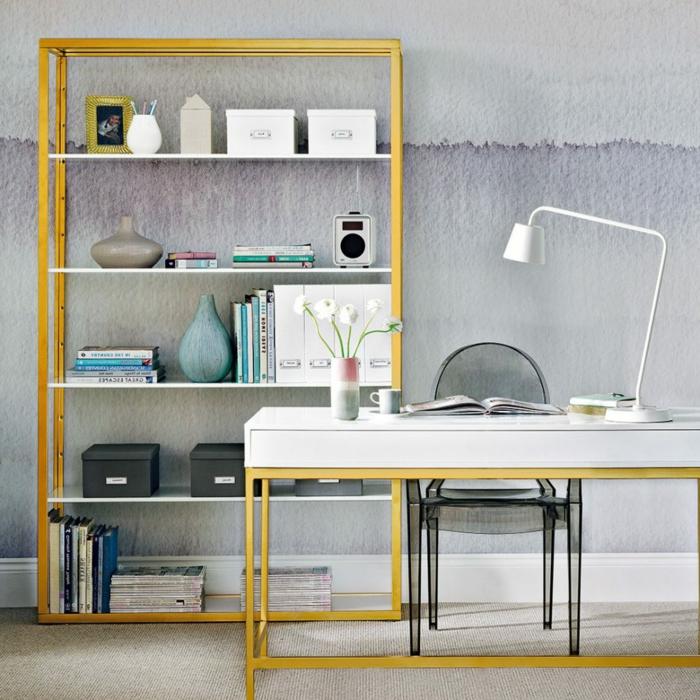 despacho en casa decorado según las ultimas tendencias, ideas bontias para organizar tu oficina en casa, paredes con papel pintado original