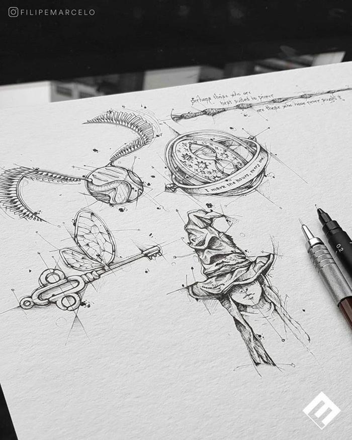 pequeños detalles de harry potter para dibujar en casa, fotos de dibujos inspiradores inspirados en los libros de Harry potter